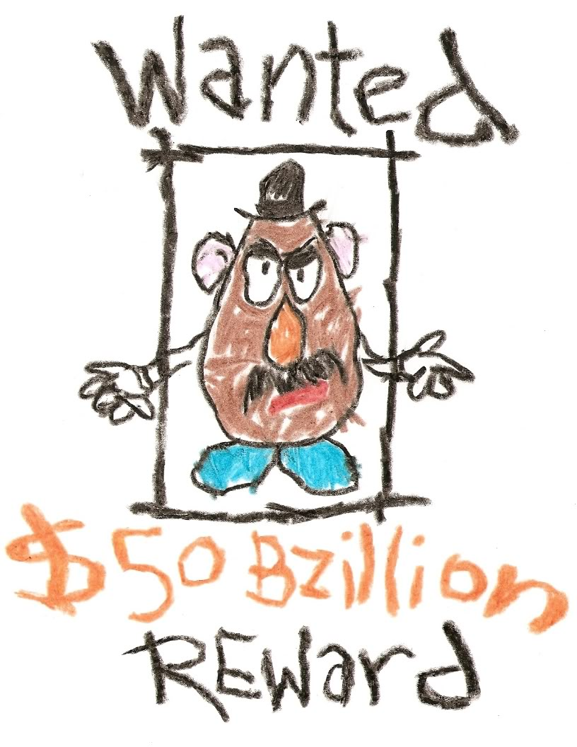 Wanted Mr Potato Head Sign