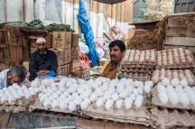 The Anday Waala.. one of the many vendors in Empress Market, Karachi.